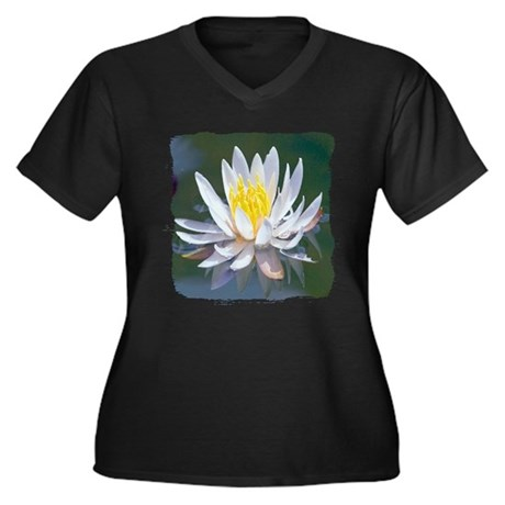 Lotus Blossom Women's Plus Size V-Neck Dark T-Shir