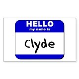 hello my name is clyde Rectangle Decal