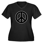 Black Peace Sign Women's Plus Size V-Neck Dark T-S