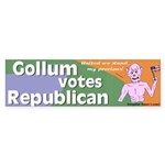 Gollum Votes Republican Bumper Sticker