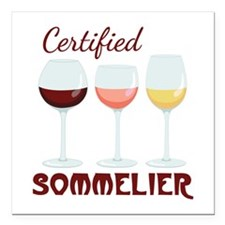 """Certified SOMMELIER Square Car Magnet 3"""" x 3"""""""