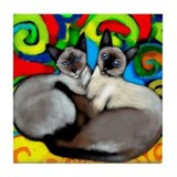 SIAMESE CATS Tile Coaster
