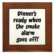 Smoke Alarm Saying Framed Tile