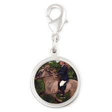 Icelandic Horse Silver Round Charm