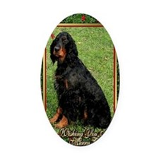 Gordon Setter Dog Christmas Oval Car Magnet