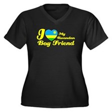 Rwandan Boy Friend Women's Plus Size V-Neck Dark T