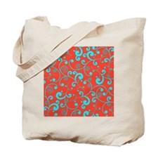 Elegant Orange and Aqua Blue Scroll Patte Tote Bag