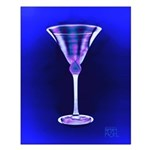 Two-toned Satin Beveled Martini Glass in Cobalt