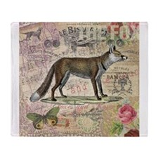 Fox Vintage Animal Collage Throw Blanket