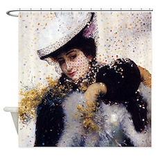 Vintage Winter Bride Shower Curtain