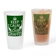 Keep Calm and Love Giraffes Drinking Glass