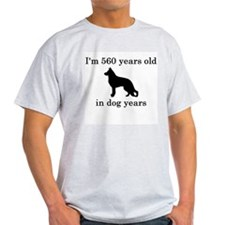 80 birthday dog years german shepherd black T-Shir