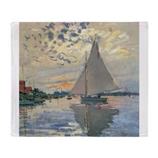 Monet Sailboat French Impressionist Throw Blanket