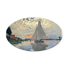 Monet Sailboat French Impressionist Oval Car Magne