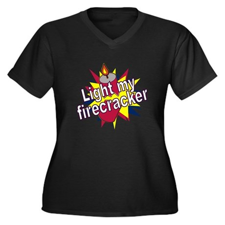 Light my Fire Women's Plus Size V-Neck Dark T-Shir