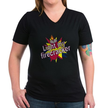 Light my Fire Women's V-Neck Dark T-Shirt