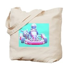 Kart Racer with blue Background Tote Bag