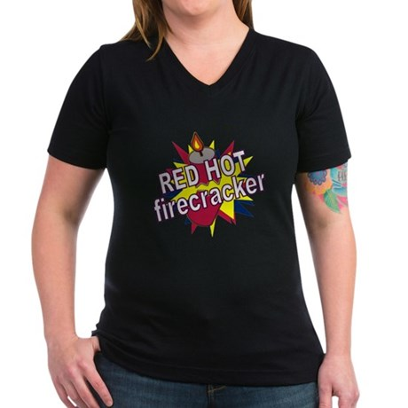Red Hot Firecracker Women's V-Neck Dark T-Shirt