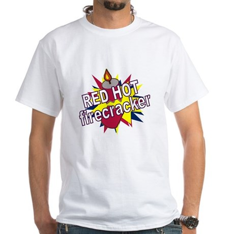 Red Hot Firecracker White T-Shirt