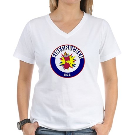 USA Firecracker Women's V-Neck T-Shirt