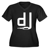 DJ Women's Plus Size V-Neck Dark T-Shirt
