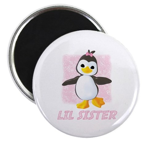 "Happy Penguin Little Sister 2.25"" Magnet (10 pack)"