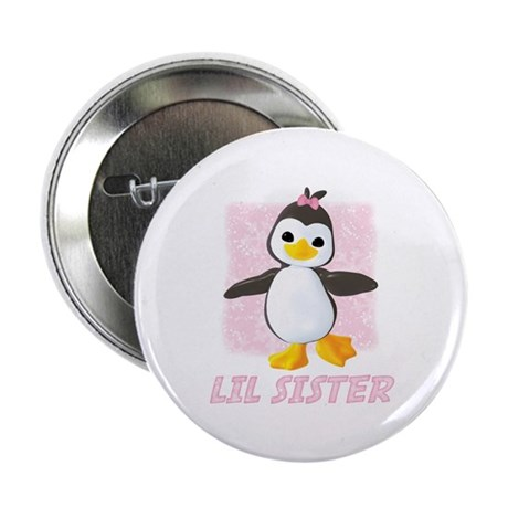 Happy Penguin Little Sister Button