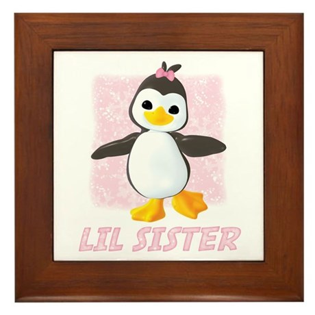 Happy Penguin Little Sister Framed Tile