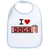 I Love Dogs & Popcorn! Bib