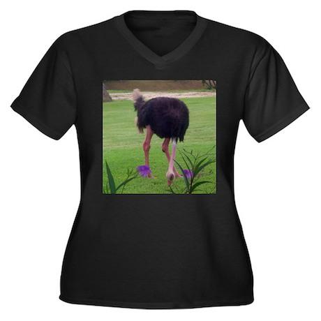 ostrich Women's Plus Size V-Neck Dark T-Shirt