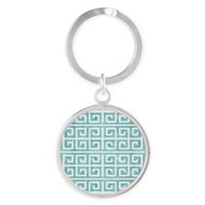 Aqua Blue Greek Key Watercolor Distressed Keychain
