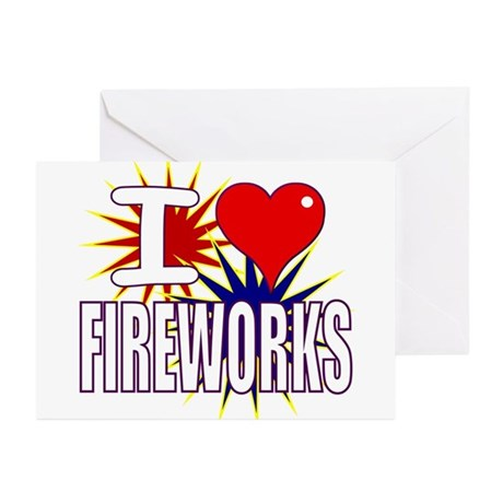 I heart fireworks Greeting Cards (Pk of 10)