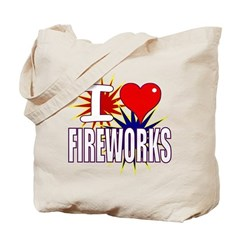I heart fireworks Tote Bag