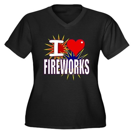 I heart fireworks Women's Plus Size V-Neck Dark T-
