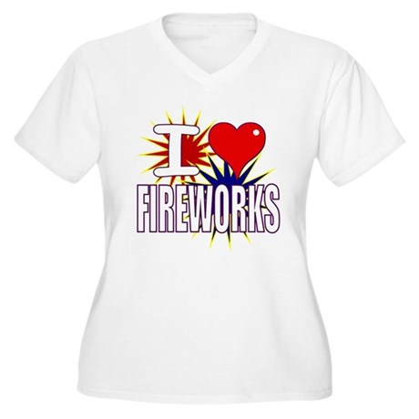 I heart fireworks Women's Plus Size V-Neck T-Shirt