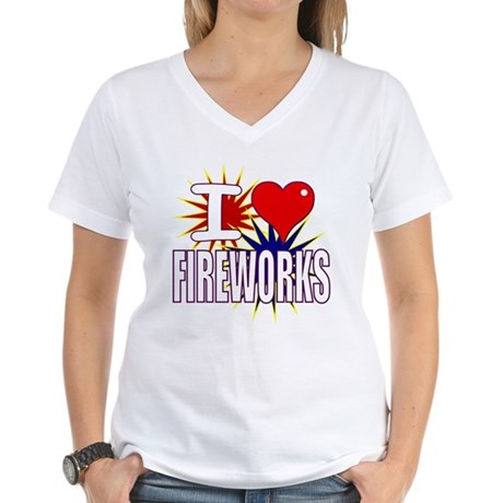 I heart fireworks Women's V-Neck T-Shirt