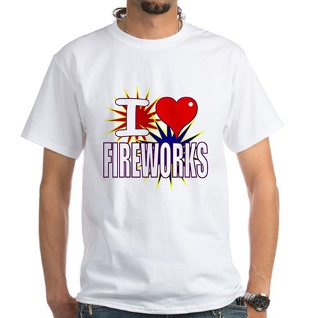 I heart fireworks White T-Shirt