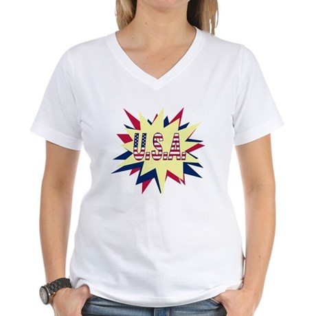 Starburst USA Women's V-Neck T-Shirt