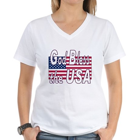 God Bless the USA Women's V-Neck T-Shirt