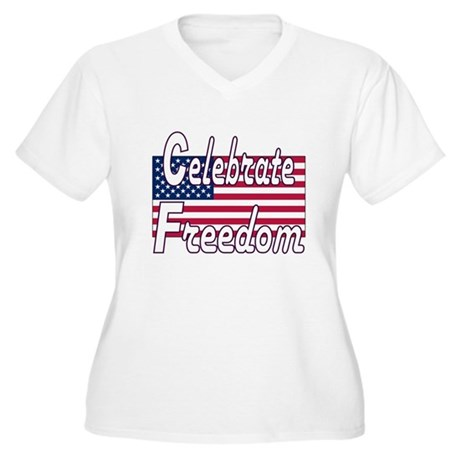 Celebrate Freedom Women's Plus Size V-Neck T-Shirt