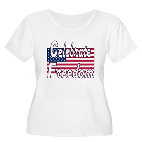 Celebrate Freedom Women's Plus Size Scoop Neck T-S