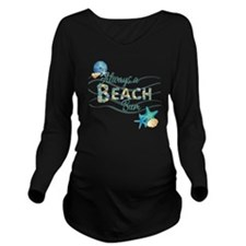 Beach Bum Long Sleeve Maternity T-Shirt