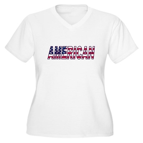 US Flag American Women's Plus Size V-Neck T-Shirt