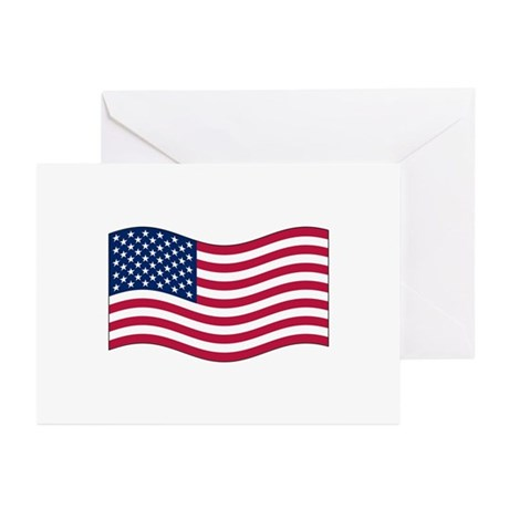 US Waving Flag Greeting Cards (Pk of 10)