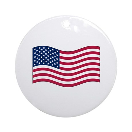 US Waving Flag Ornament (Round)