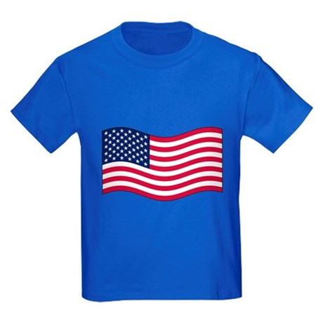 US Waving Flag Kids Dark T-Shirt