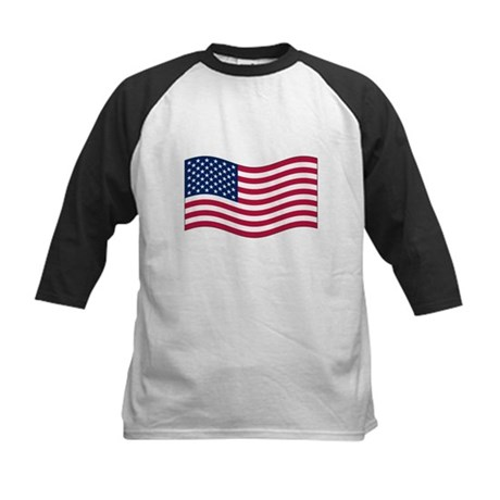 US Waving Flag Kids Baseball Jersey