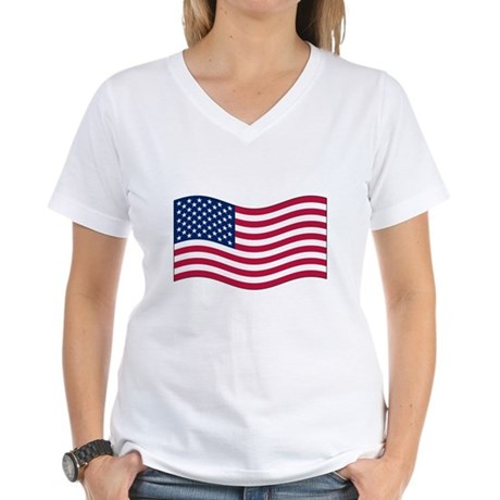 US Waving Flag Women's V-Neck T-Shirt
