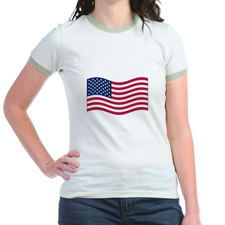 US Waving Flag Jr. Ringer T-Shirt