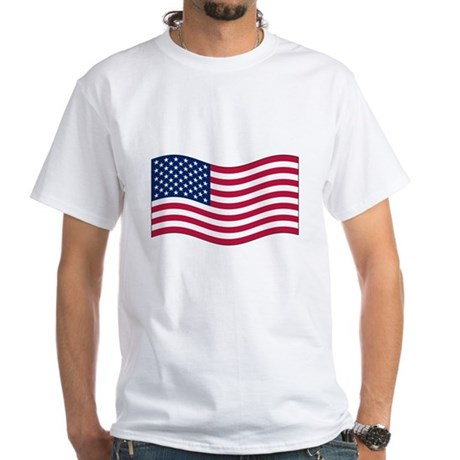 US Waving Flag White T-Shirt